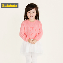 balabala dress for children Baby girls summer dress 2017 fashion long sleeve dresses for bebe clothes for girls(China)
