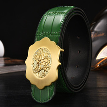 2017 Gold Flower Buckle Genuine Leather Belt Business Casual Men Belts Black Coffee Green Orange Quality Guarantee ZH333