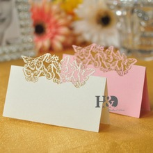 Laser Cut Paper Ivory and Pink Butterfly cut out 12pcs Name Place Card Wine Glass Cup Invitation Card Party Wedding Favors Decor