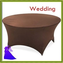 180*180cm Brown round spandex table cloth wedding and banquet free shipping(China)