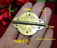 44*33MM Copper Brass Hinge Gift Palette Decorative Hinge High-end printing Hinge 180 degree hinge Wholesale(China)