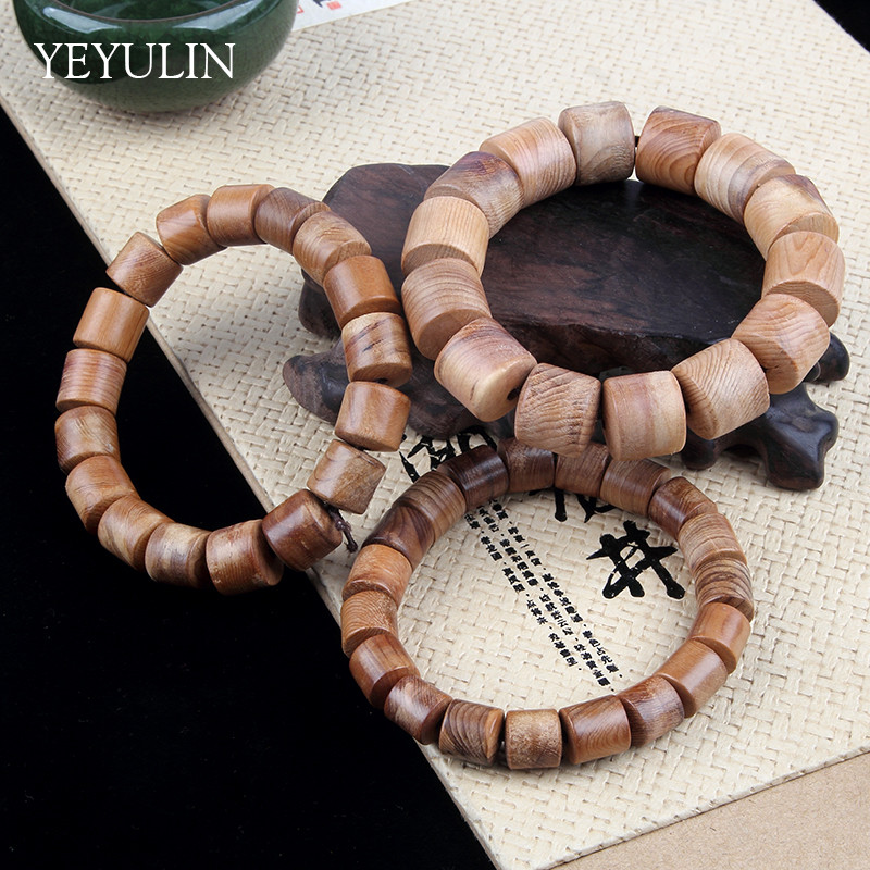 Trendy Cylindrical Wood 18 12 10mm Buddha Beads Bracelet Women Men Wooden Bangles Jewelry
