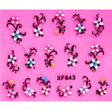 2017 sweet 3D flower design Water Transfer Nails Art Sticker decals lady women manicure tools Nail Wraps Decals wholesale(China)