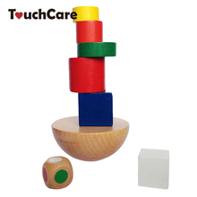 Colorful Wooden Building Blocks Toys Children Intelligence Educational Balancing Blocks Wooden Toys Geometric Assembling DIY Toy