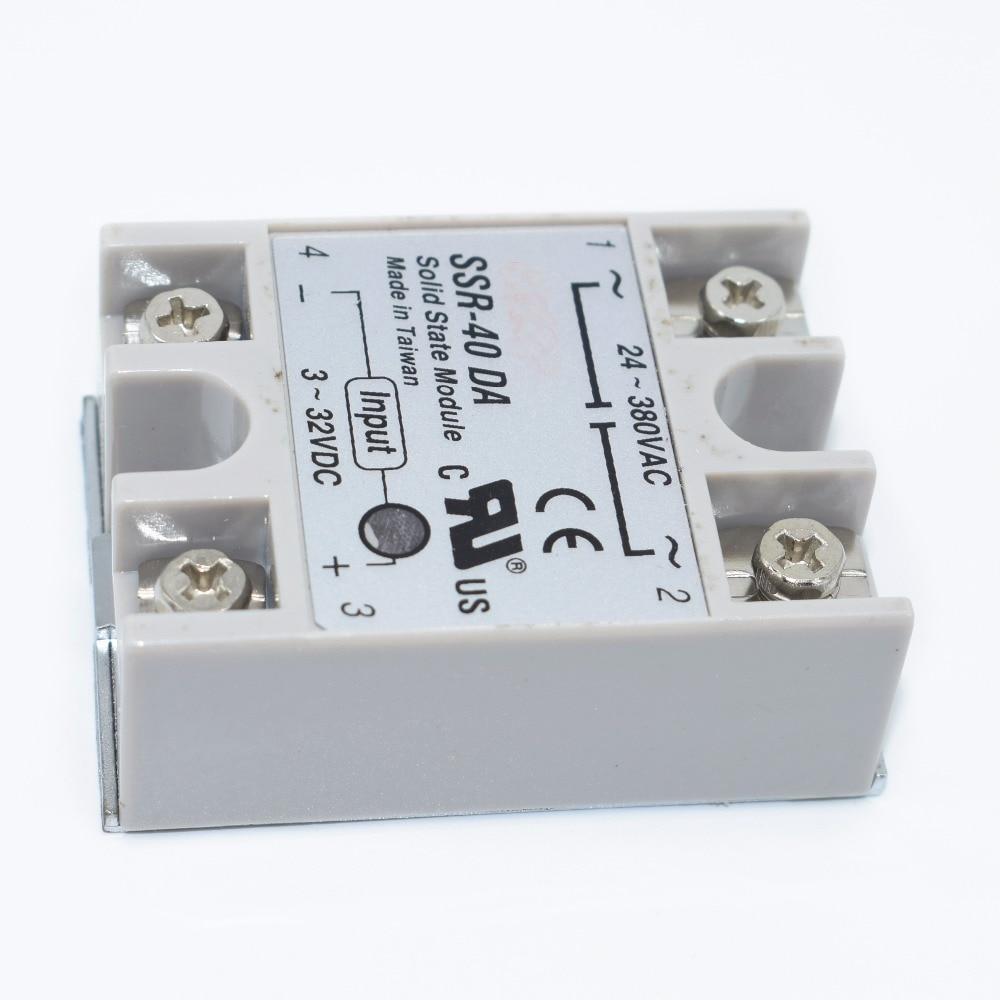 10PCS SSR-40 DA DC to AC DC-AC Solid State Relay Module   SSR-40DA Temperature Controller 24V-380V 40A 250V 2