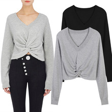 new autumn spot knot twist deep V collar short thin midriffs long sleeved(China)