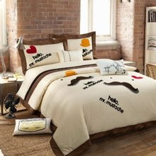 Beautiful Embroidered Bedding Set,High Quality 100% Cotton Embroidery Duvet Cover Bedding Set,Queen,4Pcs