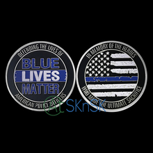 Commemorative Coin silver Plated The Blue Line Lives Matter coins Challenge Coin For Souvenir American Coin Collection Gift New