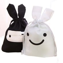 NEW Lovely Rabbit Ninja Cloth Drawstring Portable Travel Storage Bag Black/White(China)