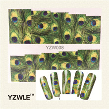 YZWLE 1 Sheet Green Feather Nail Art Water Decals Transfer Stickers, Manicure Decor Tool Cover Nail Wrap Decal(YZW-008)
