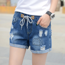 Jean Shorts Rubber break trousers Elastic waist band cuffs slim casual comfortable women Stylish comfortable trousers(China)