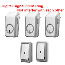 bell kits 2 emitters+3 receiver wireless doorbell Waterproof 380 Meter door chime 48 melodies door ring digital signal door bell