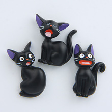 Cute Black Cat Japan cartoon Creative 3D Action Figure Magnetic Stiker house doll Lovely cartoon version Miniature Model(China)