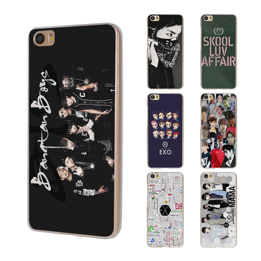 Exo Kpop band BTS boys design hard clear Phone shell Case Xiaomi Mi 6 5 5s 4s Redmi 3s 4A Note3 Note4