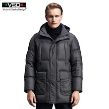VSD 90% White Duck Down Quality Handsome Warm Long Fashion Business Style Winter Jacket Men's Clothing Casual Coat Men Parka 153(China)