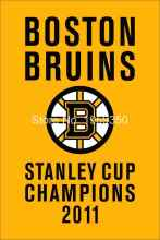 Boston Bruins Stanley Cup Champions 2011 Flag 3ft x 5ft Polyester NHL Team Banner flag(China)