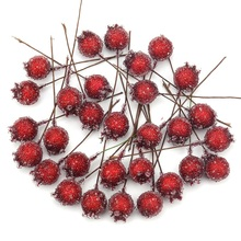 20PCS  Mini Fake Glass Pomegranate Fruit Small Berries Artificial Flowers red cherry Stamen  Wedding Christmas Decorative
