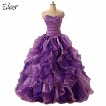 Purple Quinceanera Dresses 2017 Ball Gown Sweetheart Off Shoulder Beaded Floor Length Vestidos De 15 Long Prom Gown For Girl(China)