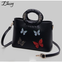 Ellacey Black Floral Embroidered Tote Bags For Women Stereotyped Burgundy Bag With Butterfly Embroidery Designs Chinese National