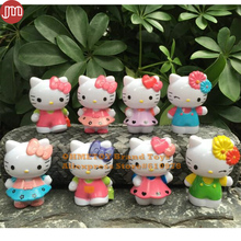 OHMETOY 8PCS Hello Kitty Toy Action Figures Limited Edition Collection 6-7cm Girl Birthday Gift Cake Toppers Brinquedos