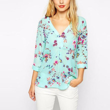 New 2017 v-neck spring summer chiffon blouse women's 7/10 sleeve flower printed loose Tops shirt women casual blouses clothing