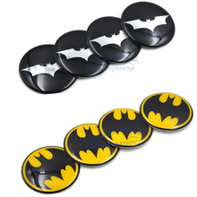 4pcs/lot 60mm Batman Black Alloy Car Wheel Center Hub Caps Sticker Emblemn Auto Modified for BMW Nissan Opel MG
