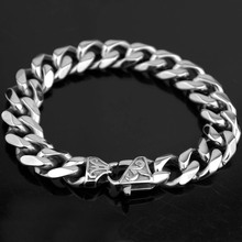New Titanium Steel Mens Punk Heavy Cuban Link Chains Bracelet Bangles Cuff Wristband Pulseras Trendy Male Jewelry Bangles(China)