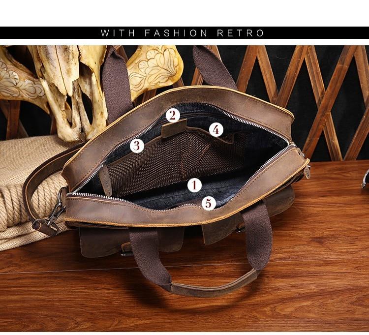 Retro Crazy Horse Cowhide Genuine Leather Men's Briefcase Handbag Crossbody Shoulder Business Zipper Laptop Messenger Bags