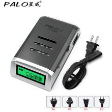 PALO LCD Quick Charger with 4 Slots LCD Display Smart Intelligent Battery Charger for AA / AAA NiCd NiMh Rechargeable Batteries