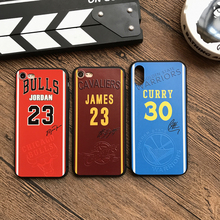 Hot NBA Curry 30 James Jordan 23 Jersey sign Soft cover cases for iphone 6 S 6S plus 7 7plus 8 8plus X 3D Emboss phone cases(China)
