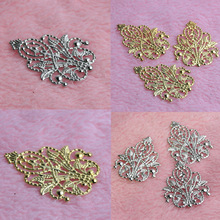 20Pcs Gold/Silver Leaves Filigree Wraps Connectors Metal Crafts Connector For Jewelry Making DIY Accessories Charm Pendant