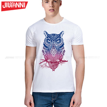 2017 fashion short sleeve owl printed men tshirt cool funny men's tee shirts tops men T-shirt cotton casual mens t shirts S-5XL