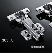 One Pair full overlay satin nickel kitchen cabinet door hinges gate hinge without damper(China)