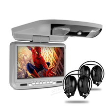 "9"" Car Roof Mounted DVD Player Flip Down Monitor With Game Function Overhead Media Player Ceiling With 2 PCS Headphones For Free(China)"