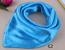 23'' New Brand Silk Square Scarf Neckerchief Pure Color Work Wear Neck Scarf Women's Hair Scarves Bandanas Headwear 60*60cm Gift