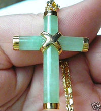 Free shipping Quality Fashion Picture> Luck jewelry new GP Light Green gem Cross Pendant Necklace(China)