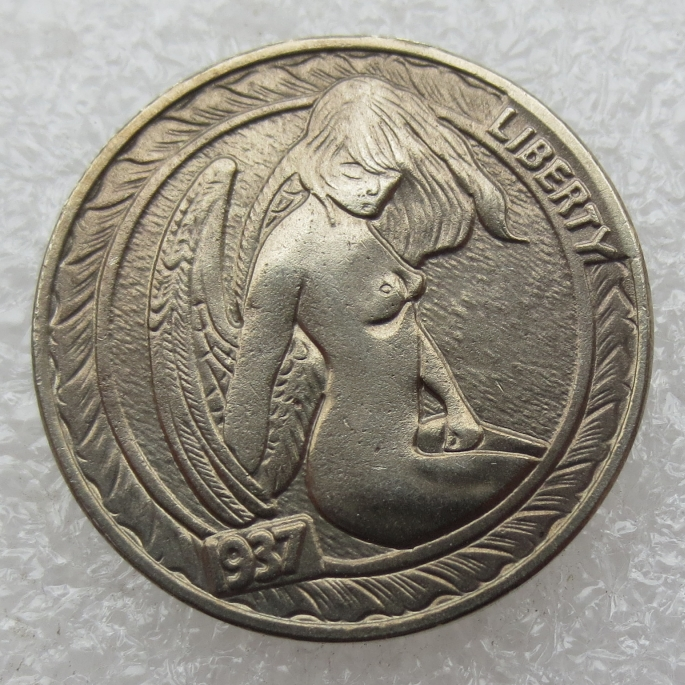 Type:#02 Hobo Nickel 1937-D 3-Eggled Buffalo Nickel Rare Creative Naked Woman Copy Coin High Quality(China (Mainland))