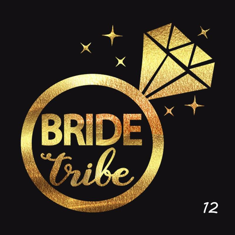 5Pcs/lot Flash Bride Tribe Temporary Tattoo Sticker Bachelor Party Bridesmaid Wedding Party Body Art Glitter Tattoo Decals Y2 6