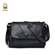 New Arrivel Soft Leather Black Women Handbags Fashion Shoulder Bag Female Lady Crossbody High Quality Design Messenger Bags(China)