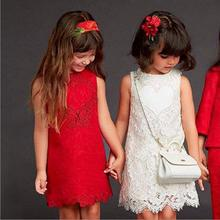 2017 New Autumn Girls Jacquard Dresses Sleeveless Heart Shape GirlS Frocks Crochet Red One-Piece Dress jurk T164