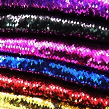 High Quality 130*50cm Reversible Mermaid Fish Scale Sequin Fabric Sparkly Paillette fabric For Dress/Bikini/Cushion/Clothes(China)