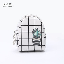 women coin purses mini small leather wallets Plaid card holders key headset money bags for girls green plants cactus pink blue(China)