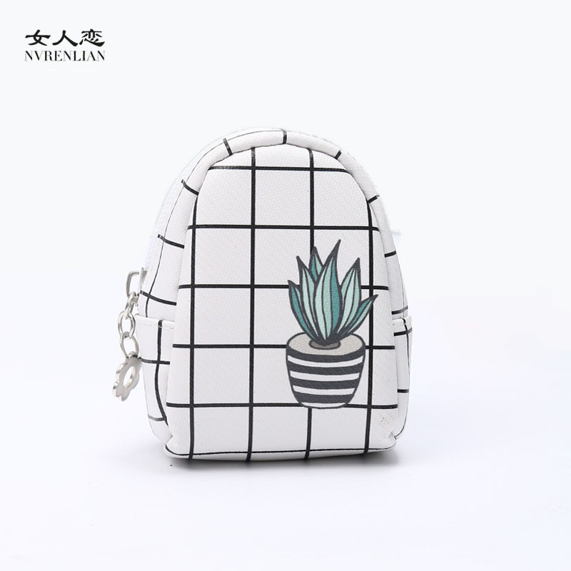 women coin purses mini small leather wallets Plaid card holders key headset money bags for girls green plants cactus pink blue(China (Mainland))