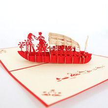 3D Laser Cut Handmade West Lake Wooden Boat Lover Paper Invitation Greeting Cards PostCard Valentine's Day Propose Creative Gift