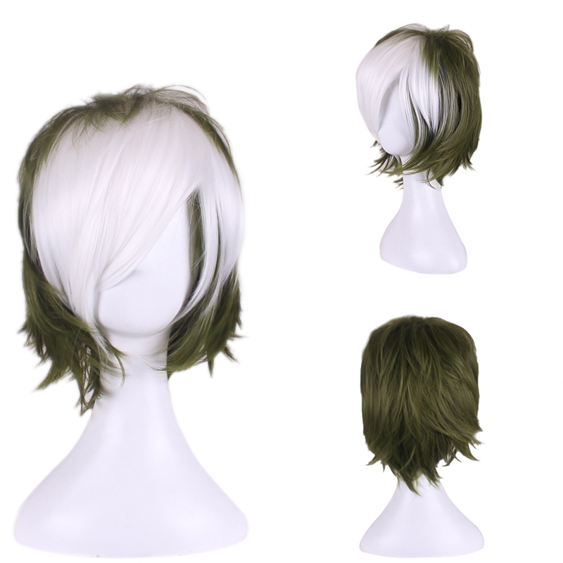 Kabaneri of Iron Fortress Ikoma Dark green Mixed White Two Tone Ombre Wig Short Male Cosplay Gradient Hair Wigs Free wig cap<br><br>Aliexpress