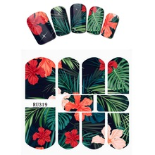 Nail Sticker WATER DECAL SLIDER FLOWER FLORID JUNGLE GREEN LEAVES LFAF PTEROSAURUS BIRD HOT SUMMER RU319-324
