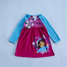 1-2 ages baby girls clothing 100% cotton cartoon  dora autumn dress cute kids spring clothes