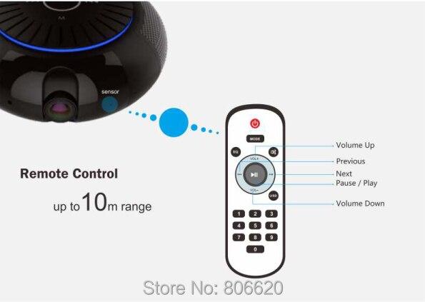 Panoramic 180 Degree 1080P HD Wifi IP Camera Built-in 5W Hifi System Bluetooth Speaker Internet Music byFree App Remote Control_F10