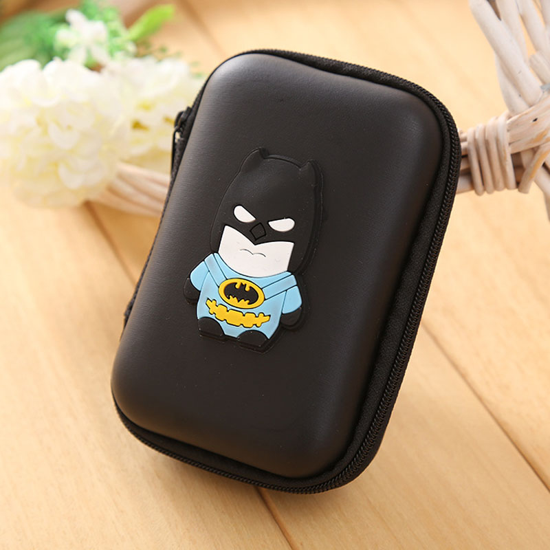 Black Batman Silicone Coin Purse Large Capacity EVA Headphone Keys Cable Storage Bag Rectangle Shaped Bat men Anime Coins Wallet<br><br>Aliexpress
