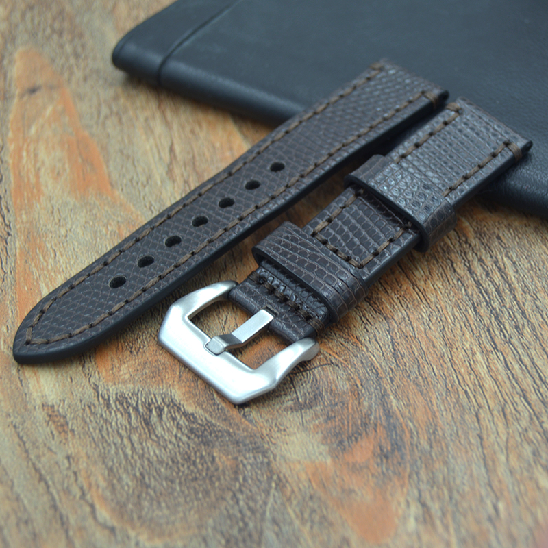 Upscale Genuine Leather Watch Strap 22mm 24mm Watchband Band Men luxury Lizard skin pattern Watches Silver Buckle Relojes Hombre<br>